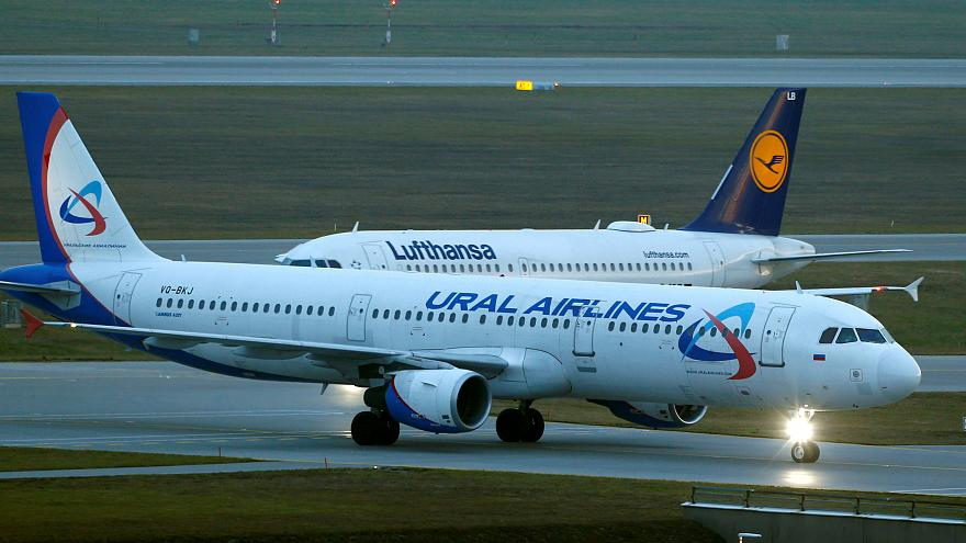 An Ural Airlines Airbus A321-200 taxis at Munich international airport