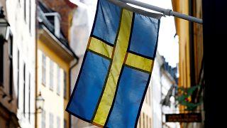 La bandera sueca en Estocolmo, Suecia. 7 de mayo 2019.