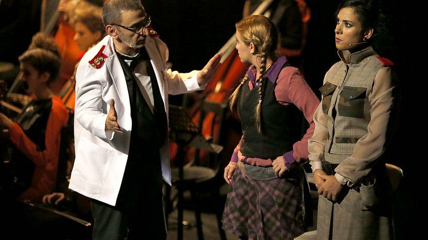 """File photo of Ziad Rahbani performing in the play """"Majnoun Yehki"""""""