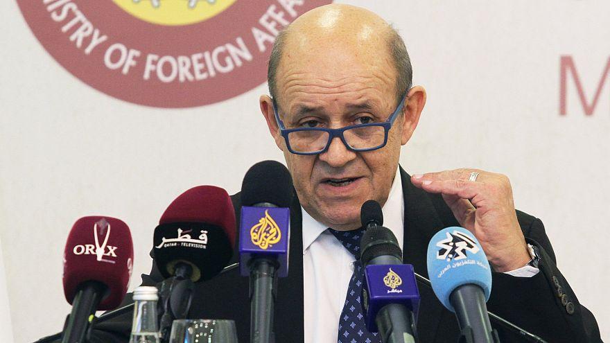 لو دريان خلال مؤتمر صحفي عقد في الدوحة سابقاً (أرشيف)