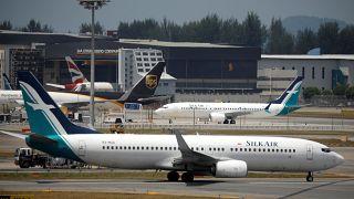 SilkAir Boeing 737 Max 8 sits near hangar in Singapore