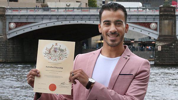 لاعب كرة القدم البحريني حكيم العريبي بعد حصوله على االجنسية البحرينية