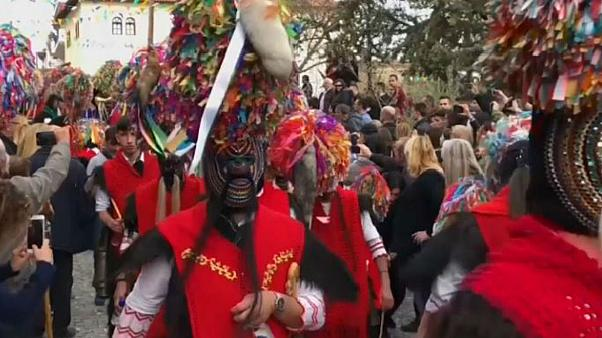 Greek mountain town greets Lent with colourful parade through town