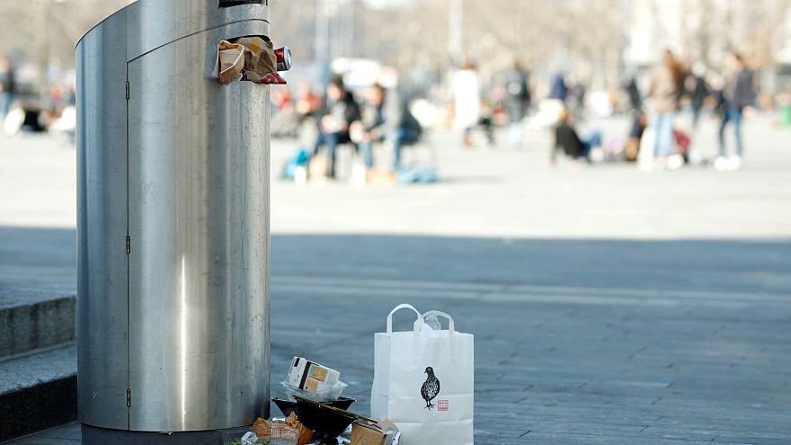 A garbage bin in Zurich, Switzerland.