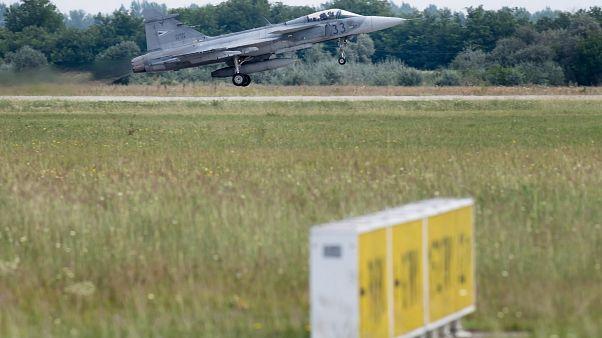 A Magyar Légierő JAS-39 Gripen vadászrepülőgépe 2018 augusztus 2-án