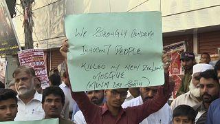 من المظاهرات التي خرجت في باكستان لتندد بالعمل الإرهابي