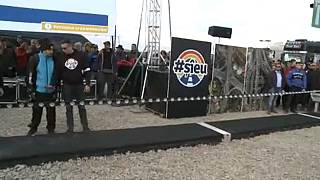 "Romanian protest leader builds a one metre ""motorway"""