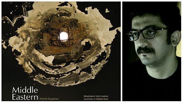 مهدی رجبیان و پوستر آلبوم «اهل خاورمیانه» که کاری از رضا دقتی است.