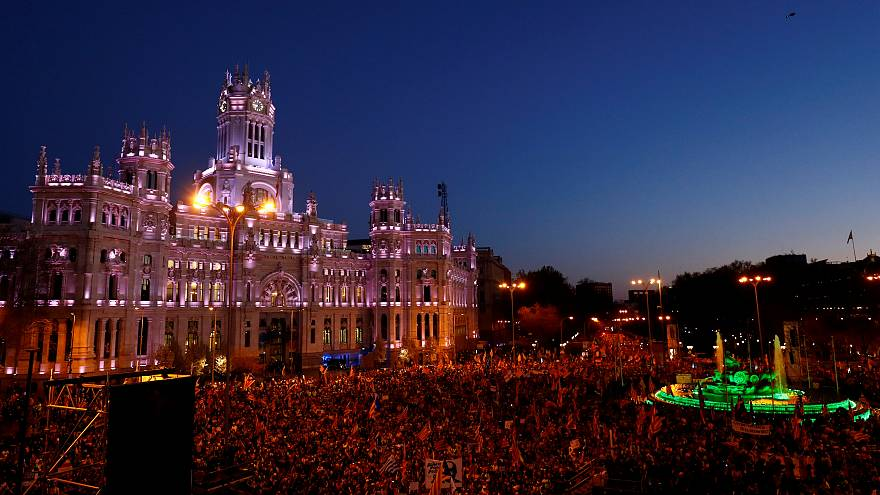 Thousands of Catalan separatist supporters protest in Madrid