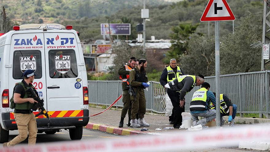 Police inspect crime scene in Ariel, in the occupied West Bank
