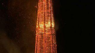 شاهد: مدينة لوستيناو النمساوية تحطم الرقم القياسي لأطول شعلة في العالم