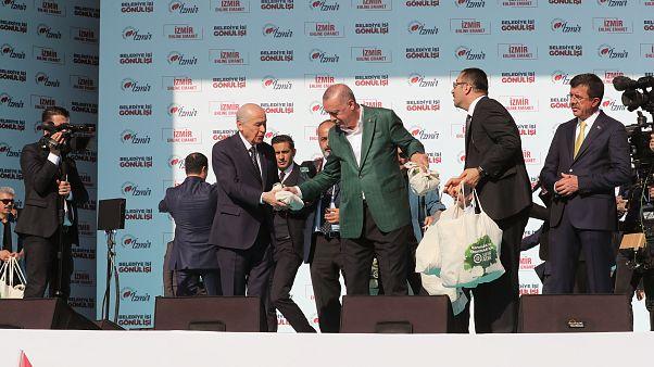 Erdoğan ve Bahçeli İzmir'de: Cumhur İttifakı'nın ortak mitingi için ilk kez iki lider bir arada