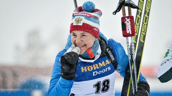 У России третья медаль на ЧМ по биатлону