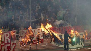 صورة لجماهير باناثانايكوس أثناء المباراة