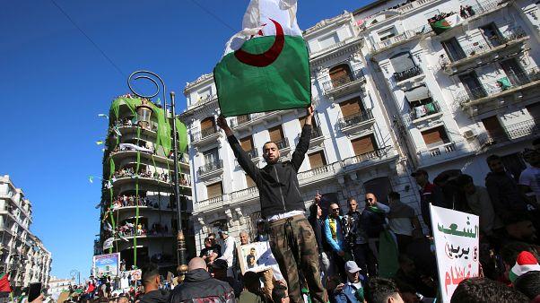 متظاهر يحمل العلم الوطني الجزائري في احتجاجات ضد الرئيس