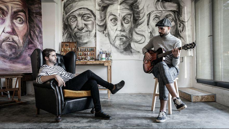 """Pedro Franco e João Mota numa das fotos promocionais de """"Homem Delírio"""""""