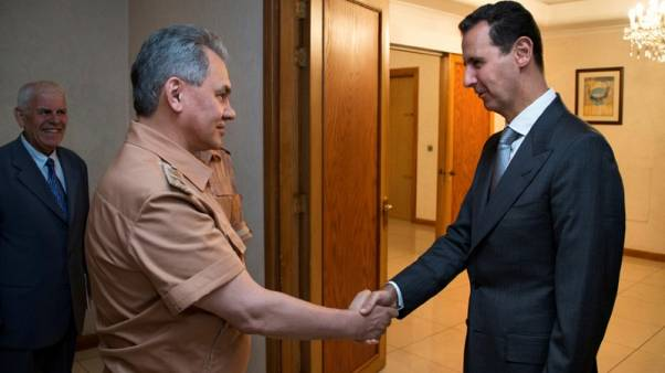 سيرغي شويغو مع الأسد في دمشق