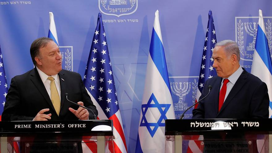 رئيس الوزراء الاسرائيلي بنيامين نتنياهو ووزير الخارجية الأمريكي مايك بومبيو