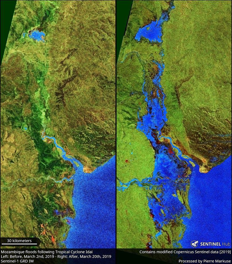 Le alluvioni in Mozambico causate dal ciclone Idai, confronto 2 marzo (sinistra) e 20 marzo (destra)