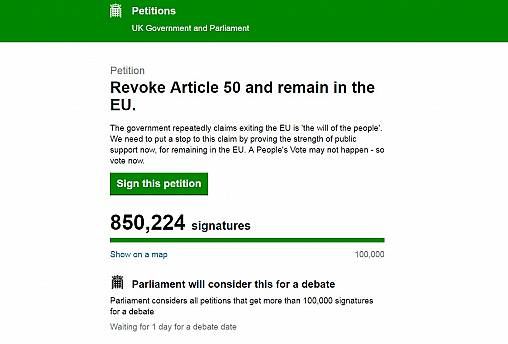 Brexit: Petition to remain in the EU heads towards one million signatures in one day