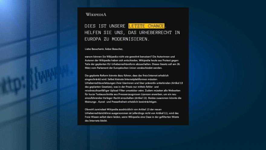 Protest gegen Upload-Filter: Wikipedia offline