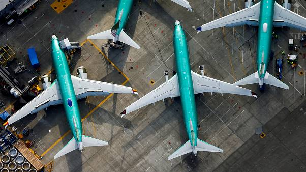 Boeing üretim fabrikasında park halinde bulunan 737 MAX tipi uçaklar