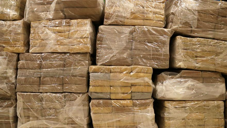 Packages containing cocaine seized in Peru.