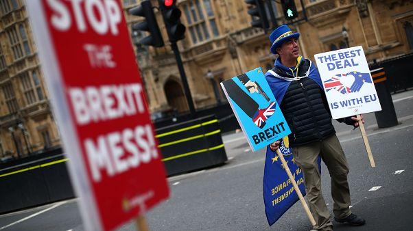Manifestante anti Brexit frente al Parlamento británico. 20 de marzo, 2019.