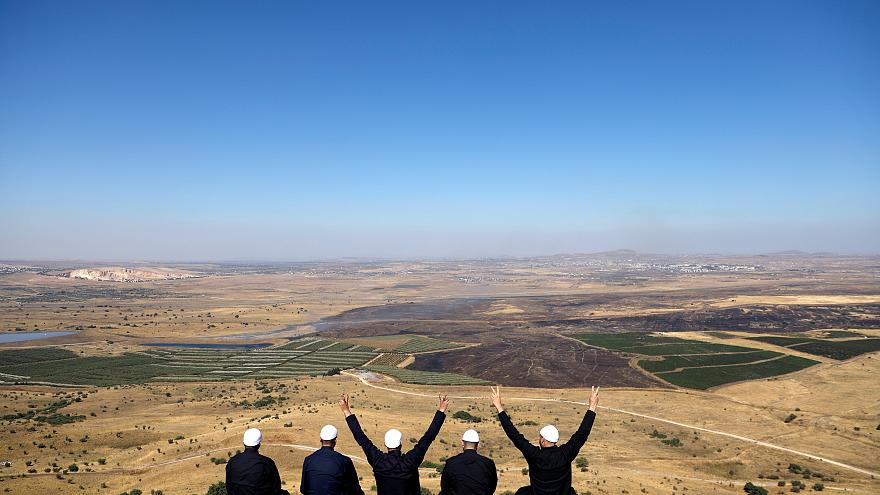 Israeli Druzes at the Israel-Syria border on the occupied Golan Heights