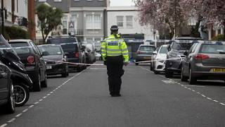 FILE PHOTO Crime scene cordon tape where a man was stabbed in west London