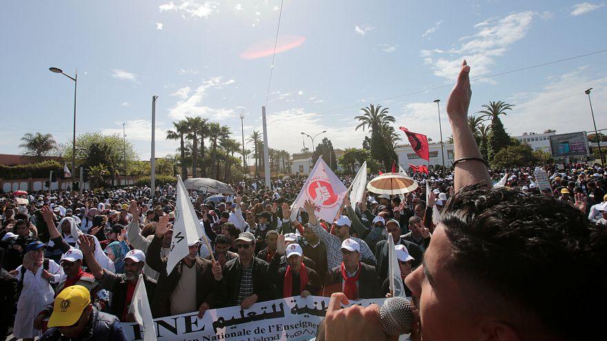 جانب من مظاهرة لمعلمين في الرباط للاحتجاج على أوضاع عملهم