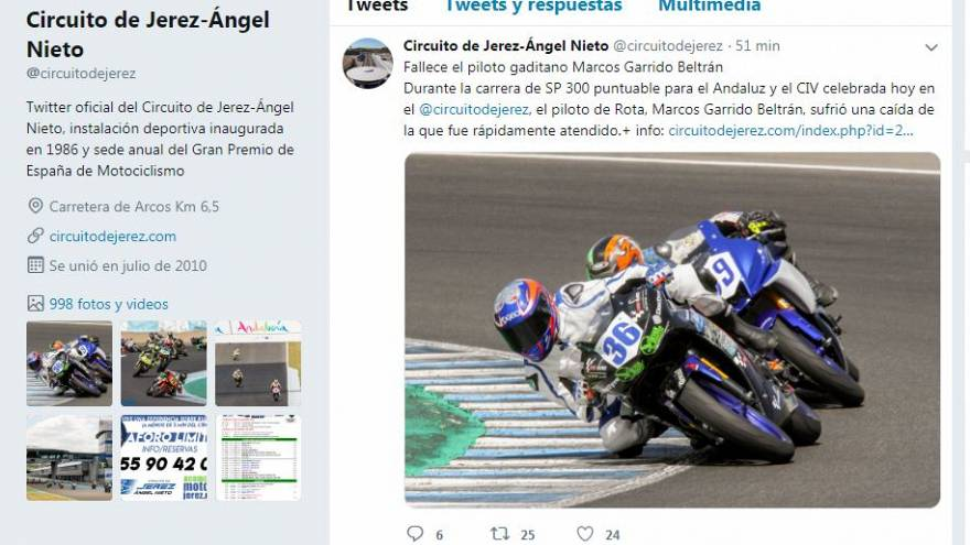 El piloto Marcos Garrido, de 14 años, muere en un accidente en el circuito de Jerez