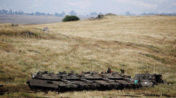 رتل من الدبابات الإسرائيلية في الجولان