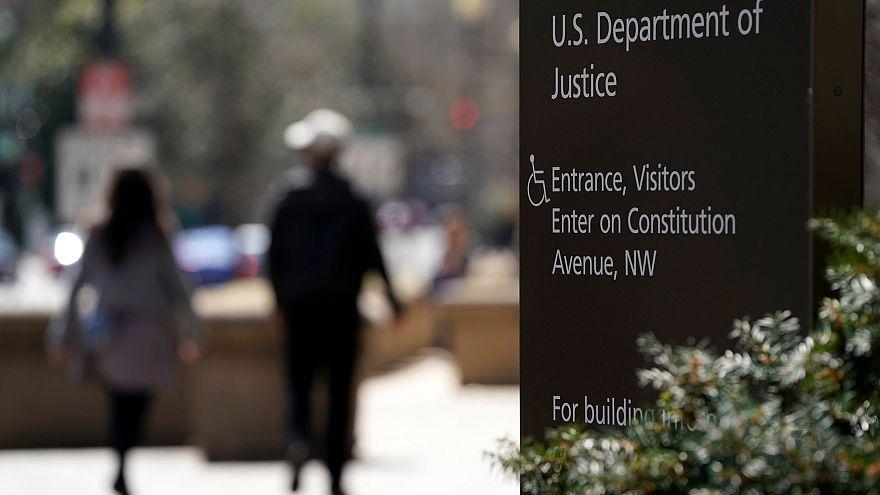 مدخل مبنى وزارة العدل الأميركية