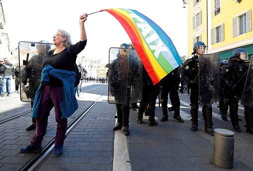 Geneviève Legay, une militante d'Attac grièvement blessée à Nice.