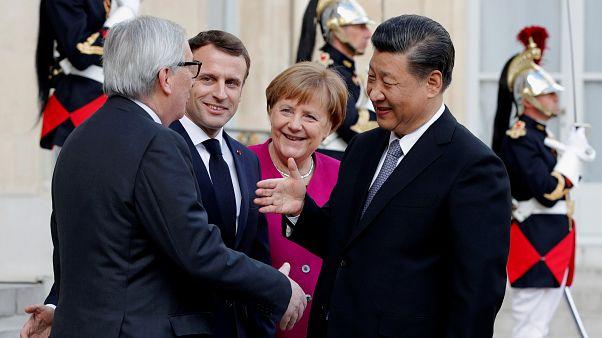Jean-Claude Juncker, Emmanuel Macron, Angela Merkel & Xi Jinping, March 26