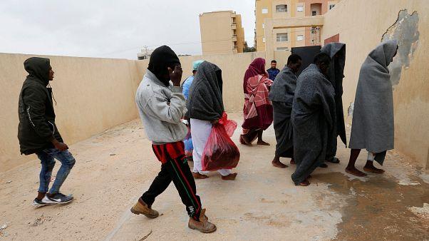 مهاجرون أنقذهم خفر السواحل الليبي قرب سبراطة -آذار/ مارس 2019