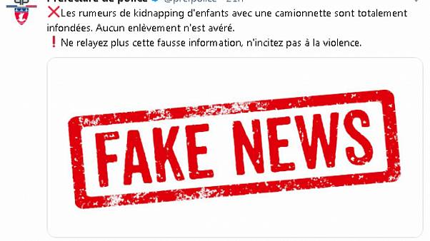 Frech police reject as 'Fake News' a rumour about white vans.