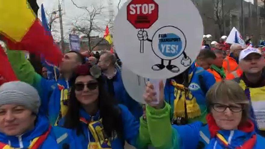 Fernfahrer-Proteste in Brüssel