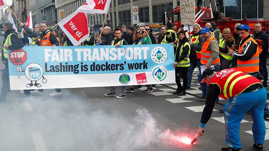 Protest over 'social dumping' in transport sector held in Brussels