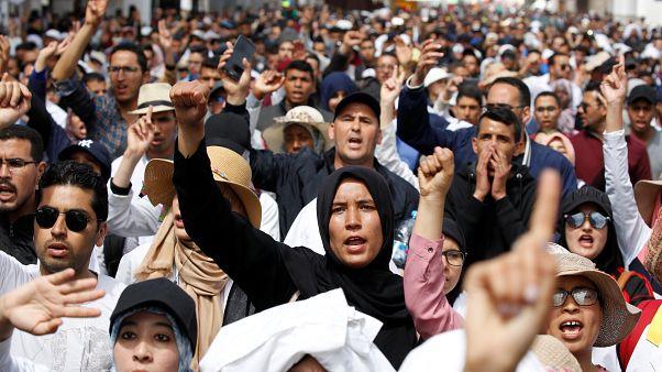 معلمون مشاركون في احتجاج في الرباط يوم 24 مارس/اذار 2019