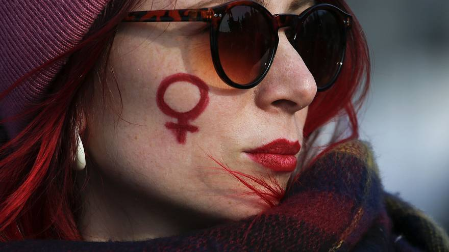 A participant at a feminist rally in Saint Petersburg, Russia