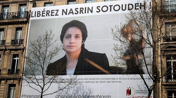 تصویر نسرین ستوده بر دیوار ساختمان شورای ملی کانون وکلای فرانسه نصب شد