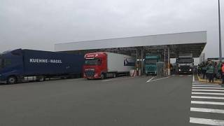 Lorries at the Channel Tunnel