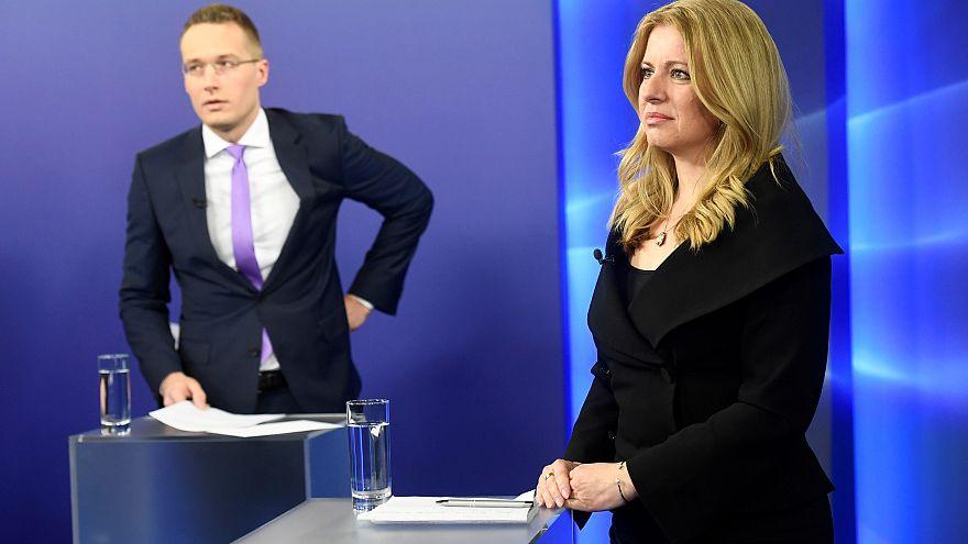 Slovakia's presidential candidates Zuzana Caputova and Maros Sefcovic