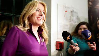 Slovakia's presidential candidate Zuzana Caputova addresses the media