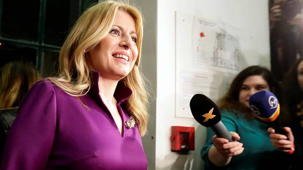 Slovakia's presidential candidate Zuzana Caputova addresses the media