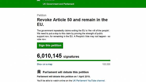 UK petition to revoke Article 50 and cancel Brexit passes 6m signatures