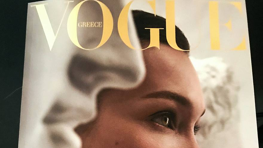 The front page of Vogue magazine is seen in Athens, Greece, March 31, 2019.