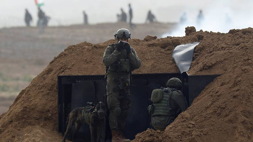 Israeli soldiers near the border fence, 30 March 2019